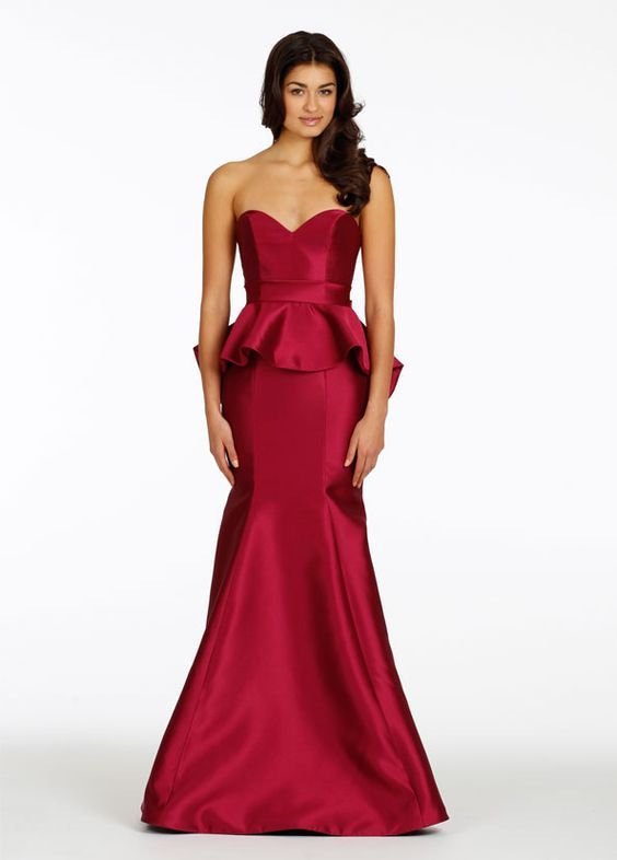 3dc4bcbc8f Wine Red Peplum Prom Dress on Luulla