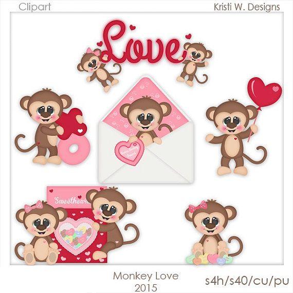 DIGITAL SCRAPBOOKING CLIPART  Monkey Love by BoxerScraps on Etsy