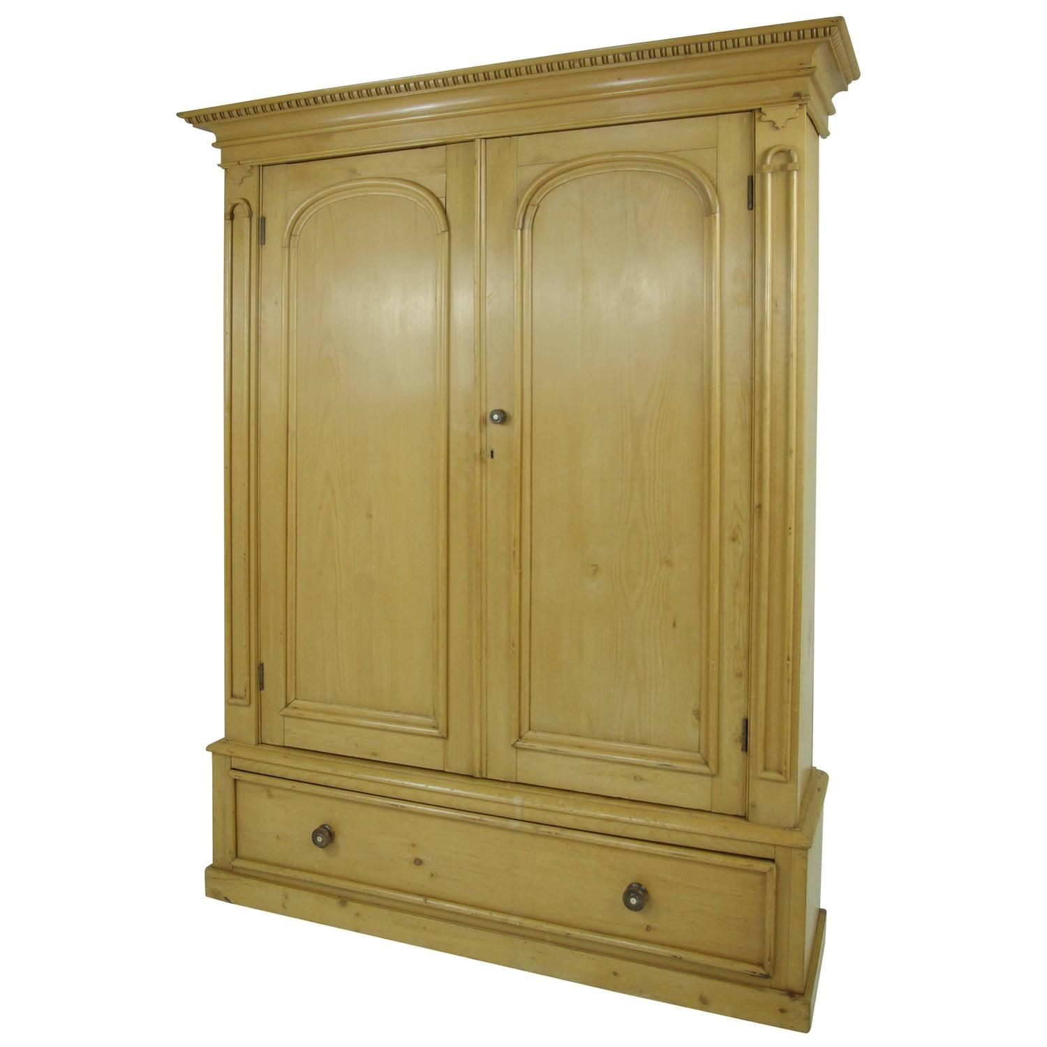 B281 Large Pine Two Door Armoire Wardrobe Display Pantry Cabinet Linen Closet From A Unique Collection Of