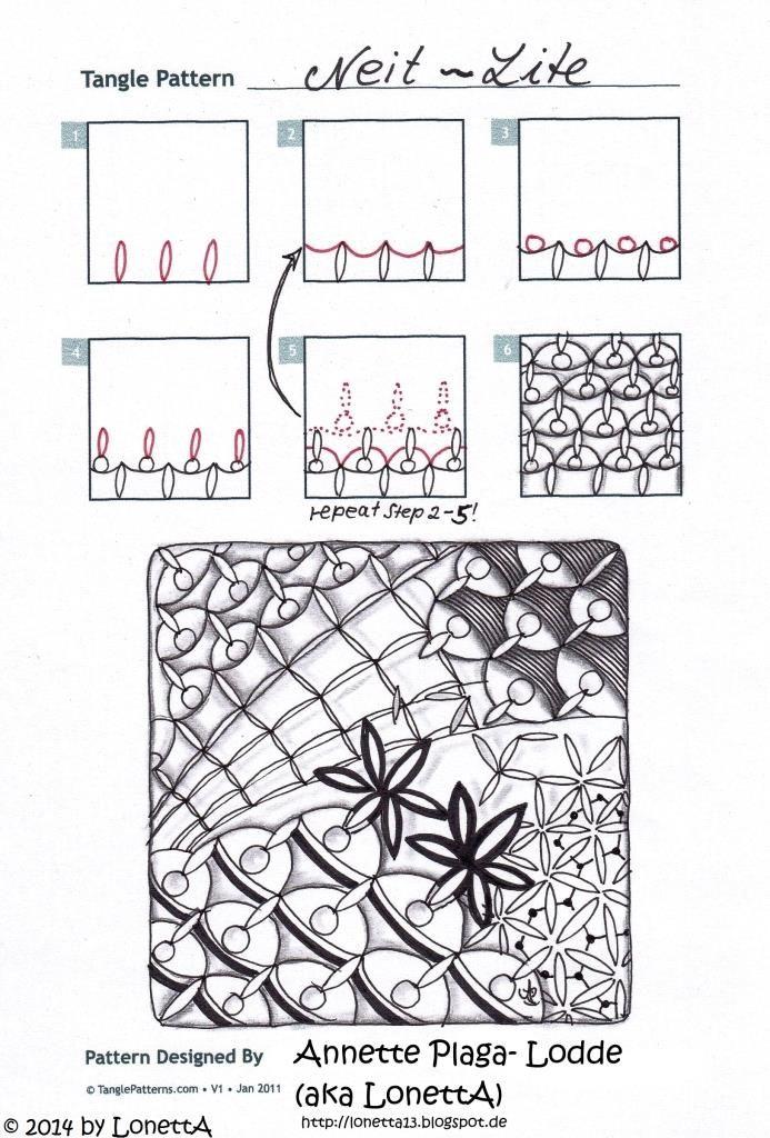Neit Lite Zentangle Doodles How To Tangle Pattern Tutorial