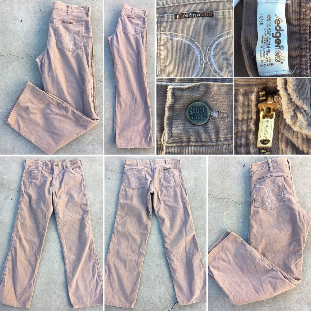 Vintage Sedgefield Corduroy Pants Cords 34 30 Made In USA 70s 1970s 80s