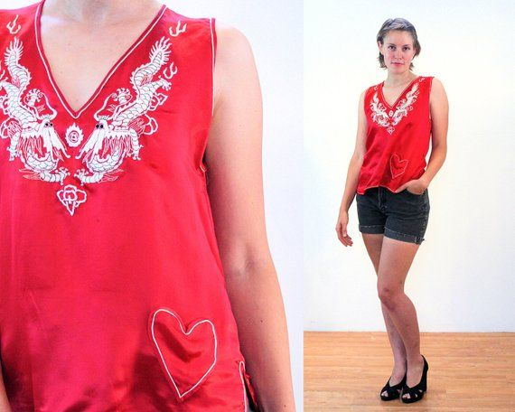 60s Red Silk Chinese Top M 175ea1069