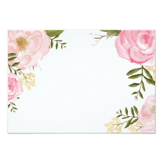 Modern Vintage Pink Floral Wedding Blank Card Zazzle Com Logo Bunga Kartu Pernikahan Poster Bunga