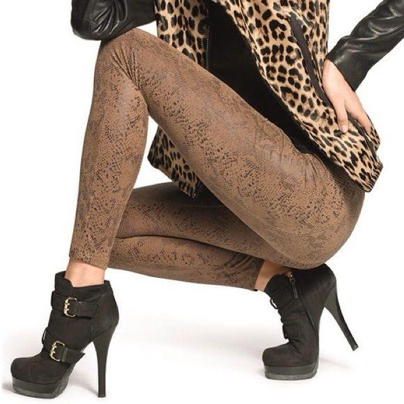 589944e9f16924 HUE Ultra Suede Python Print Leggings HUE Ultra Suede Python Print Leggings  in Camel