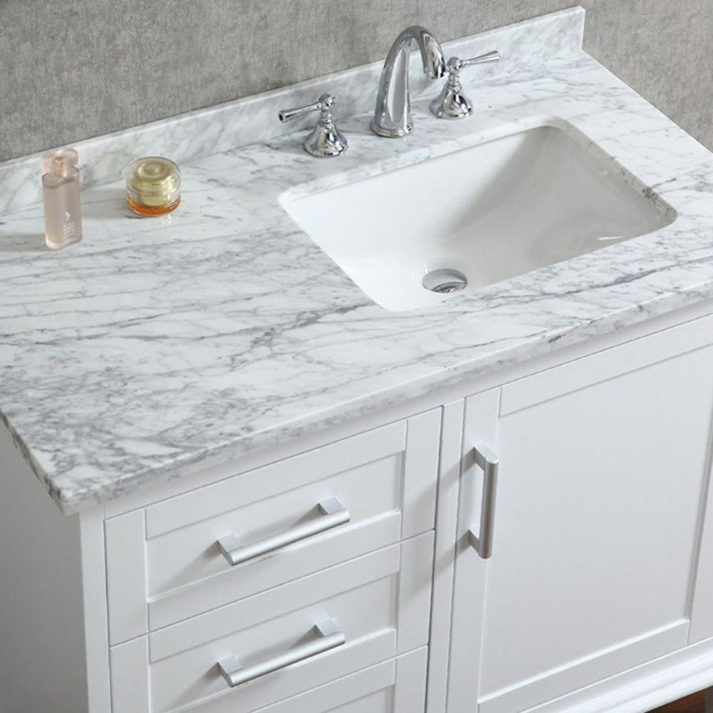 42 Inch Single Sink White Bathroom Vanity Set With Mirror