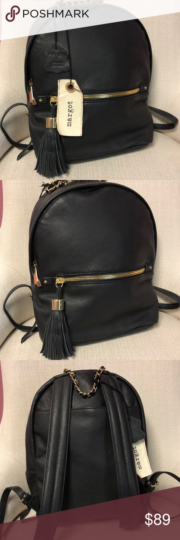 1c645079c NWT Margot Soft Leather Backpack Purse New with tags soft and supple black  with gold hardware