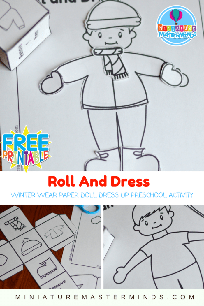 Roll And Dress Winter Wear Preschool Roll The Dice Dress Up Paper Doll Coloring Page Activity Paper Dolls Winter Dresses Winter Preschool