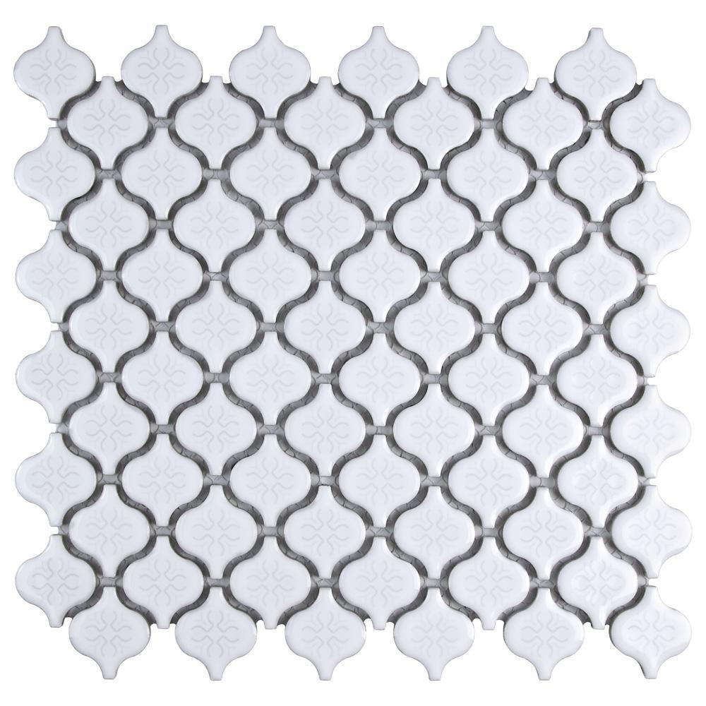 Merola Tile Lantern Mini Glossy White 10 3 4 In X 11 1 4 In X 5