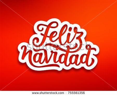 Feliz Navidad spanish Merry Christmas text on white paper label with