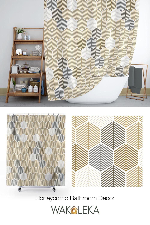 Neutral Honeycomb Shower Curtain Modern Geometric Hexagon Pattern