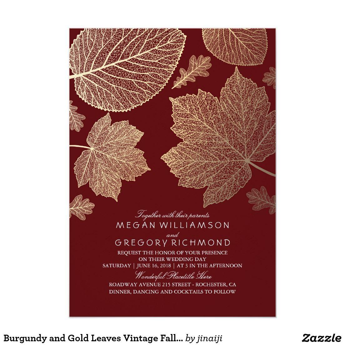 Burgundy and Gold Leaves Vintage Fall Wedding Card | Wedding ...