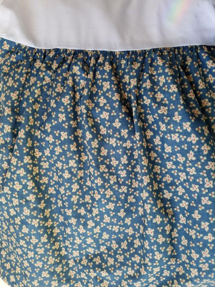 Chaps Montauk King Bed Skirt Dust Ruffle Blue Fl Print 15 Drop Split Corner