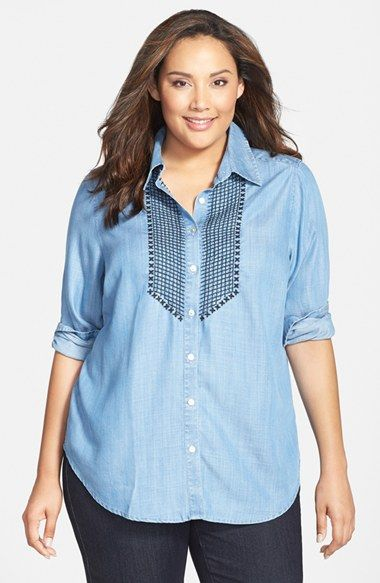 78619f07 Free shipping and returns on Foxcroft Embroidered Tencel® Shirt (Plus Size)  at Nordstrom.com. Contrast embroidery at the bib breathes a charming  country air ...