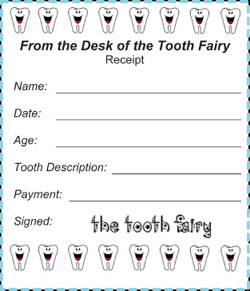 Printable Tooth Fairy Receipt 4 Per Page Tooth Fairy Receipt Tooth Fairy Tooth Fairy Letter