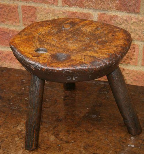 Antique Elm Milking Stool Fine Craftsmanship Edwardian (1901-1910) Benches/stools