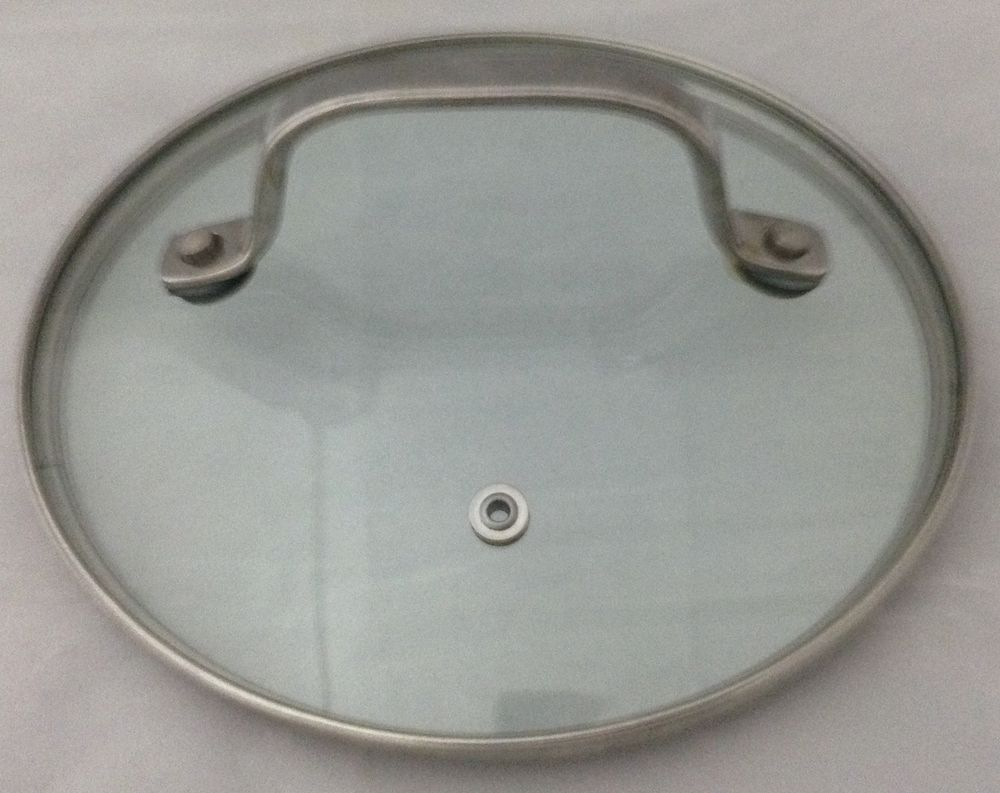 """Glass Replacement Lid Stainless Rim Fits 7"""" Inside 7 1/2"""" Outside Tall Handle #Unbranded"""
