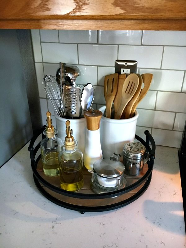 Organizing the Kitchen Counter with a tray and canisters