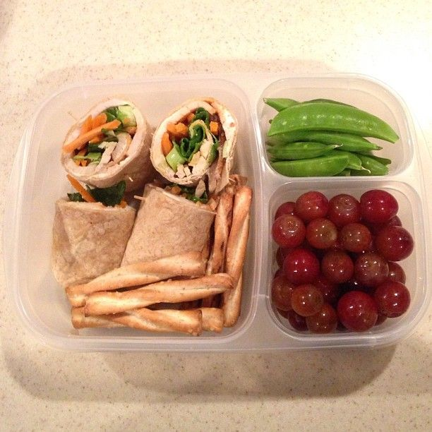 """""""OH SO good! Whole wheat wrap with roasted turkey, veggie cream cheese, spinach, carrots and sriracha, honey wheat pretzels, grapes and sugar snap peas. Perfectly satisfied!"""" #easylunchboxes"""