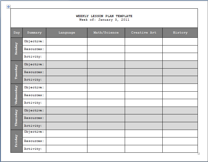 Lesson Plan Templates Weekly Lesson Plan Template Format