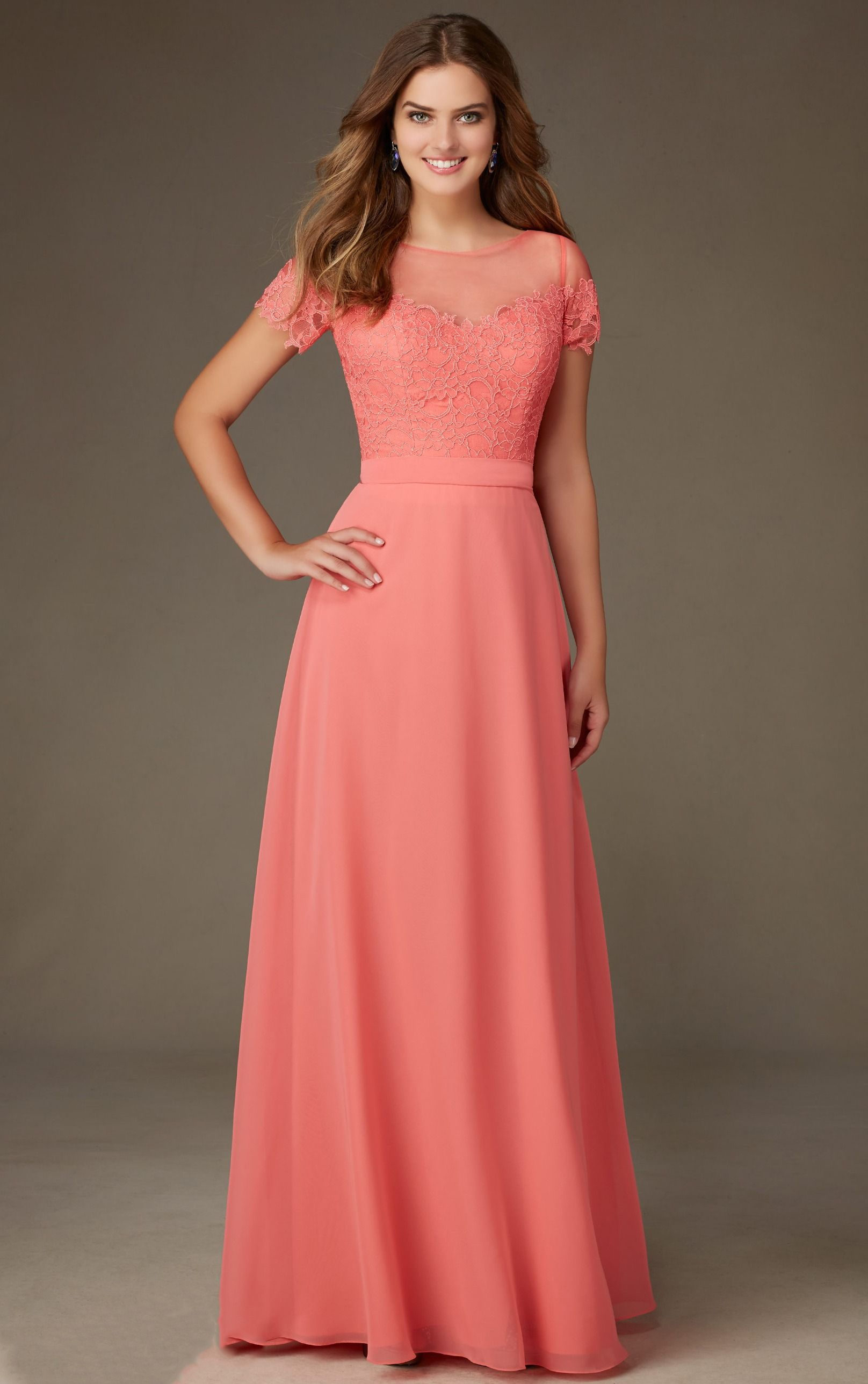 Coral lace bodice short sleeved long a line chiffon for Long sleeve chiffon wedding dress