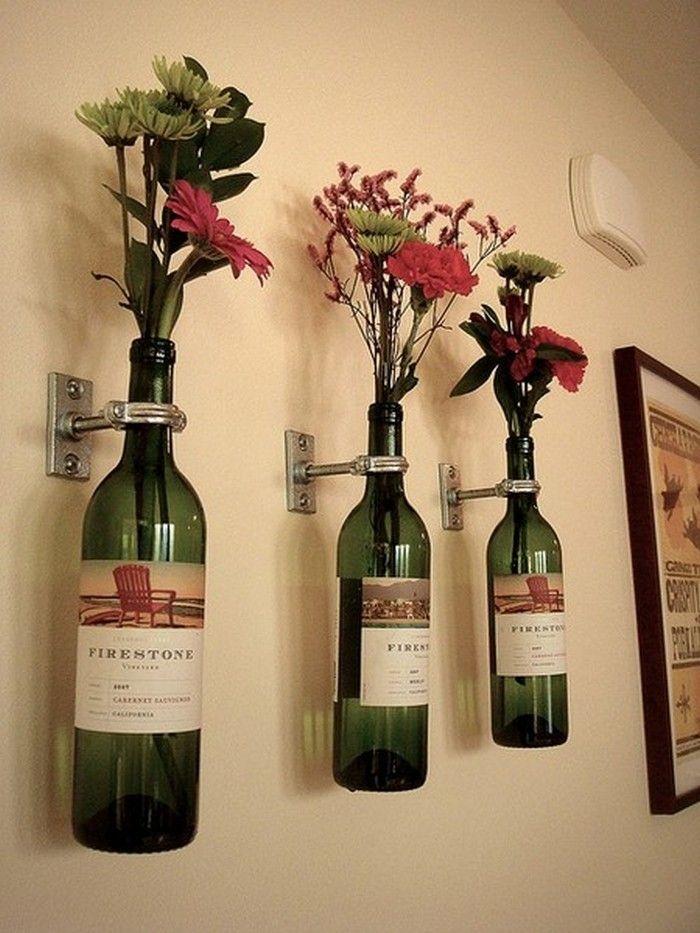Wine Bottle Flower Holders   Cookie jars, Jar and Decoration