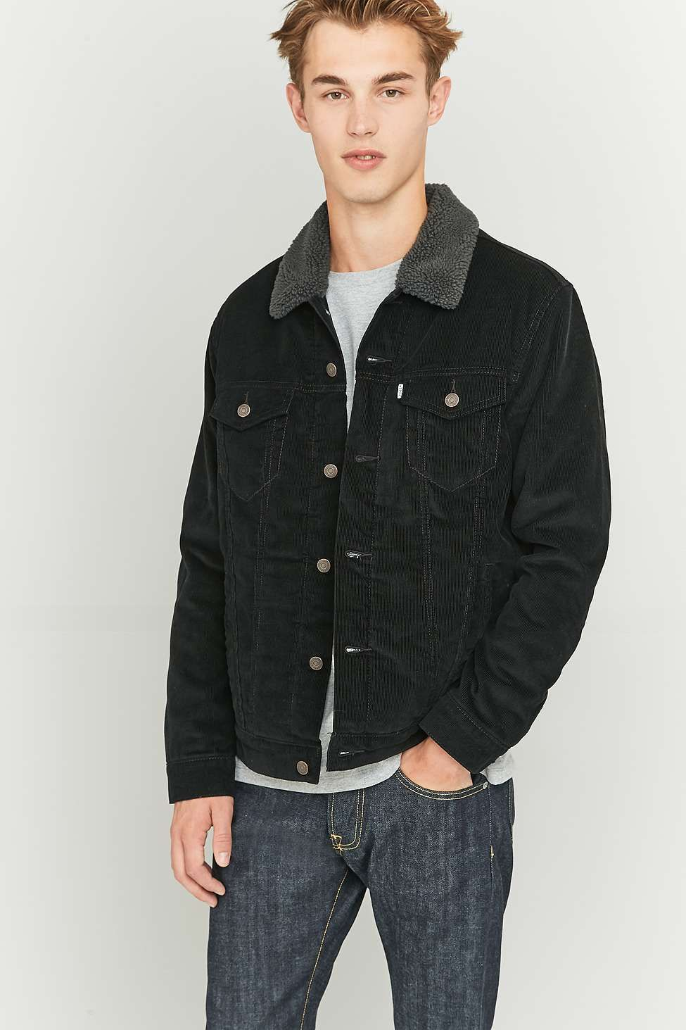 Levi's Type 3 Black Corduroy Sherpa Trucker Jacket Black