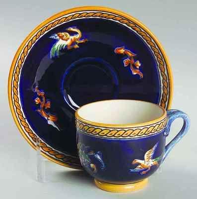 Gien Renaissance Fond Blue Demitasse Cup Saucer