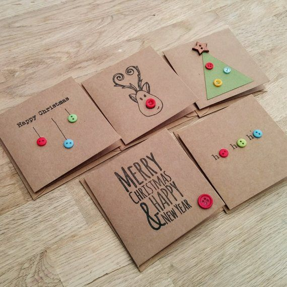 Items similar to Pack of 5 cute handmade Christmas cards with buttons - reindeer, christmas tree, baubles, ho ho ho on Etsy