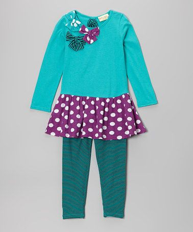 Take a look at this Turquoise & Purple June Tunic & Leggings - Toddler & Girls by Nireanna on #zulily today!