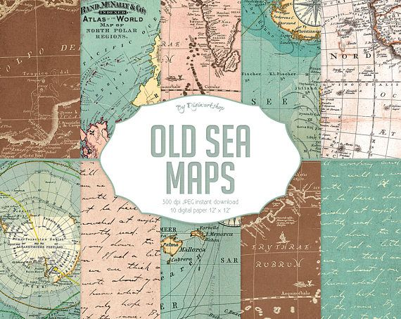 "10 Vintage maps digital paper ""Old Sea Maps "" with old vintage sea"