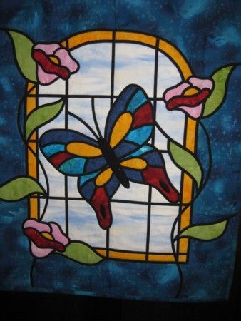 stained glass quilt | Quiltin | Pinterest