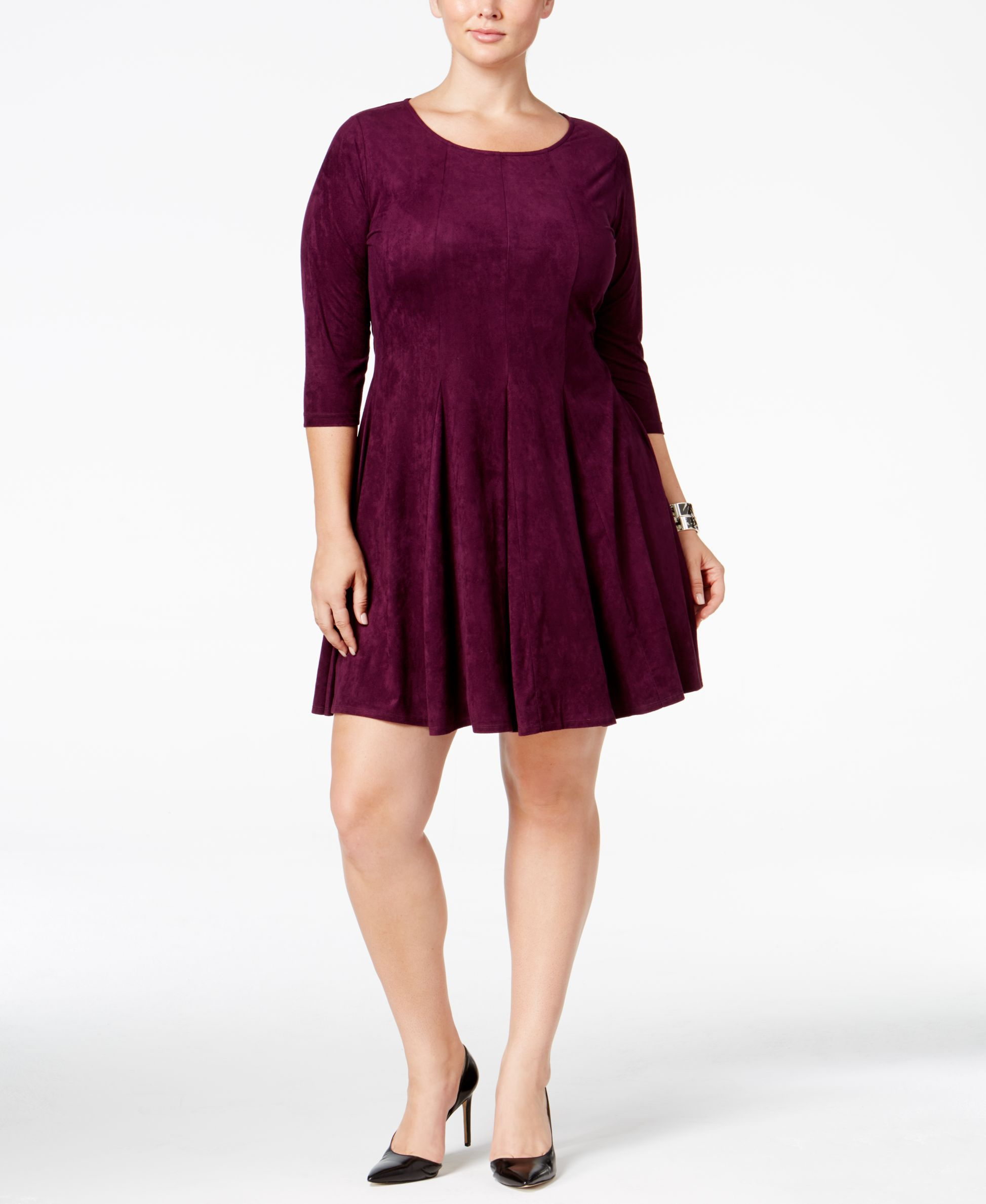 Ny Collection Plus Size Faux-Suede Fit & Flare Dress