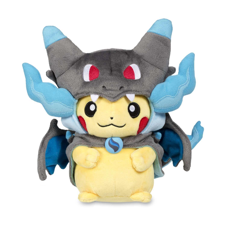 Official Mega Charizard X Costume Pikachu Pokémon Plush. Features buttoned  black cape with blue lining. Pokémon Center Original design. d3315be941d