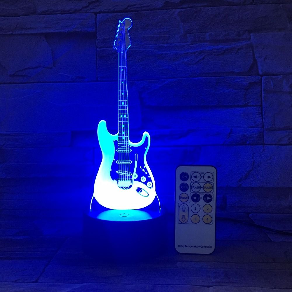 Guitar Night Light 3d Led Lamp Various Colors In 2020 3d Led Lamp Night Light Color Changing Led