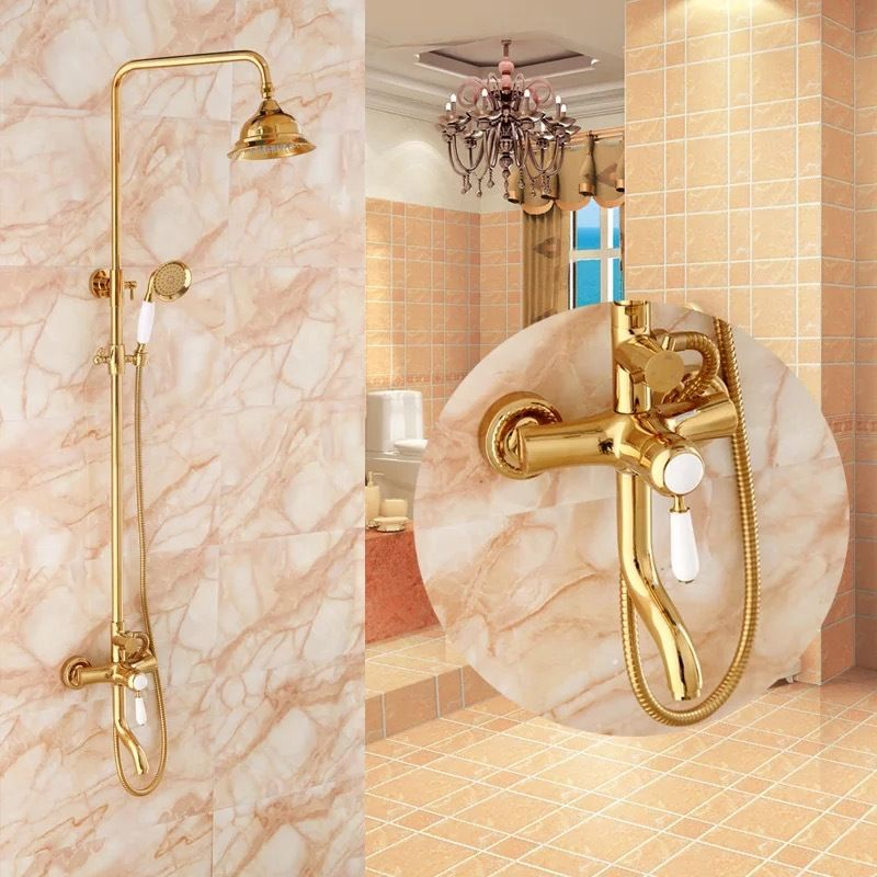 Becola Free Shipping Luxurious Shower Set Gold Color Shower Faucet Two Heads Shower Round Rain Shower Heads Hy 853 Shower Faucet Bathroom Bathroom Fixtures
