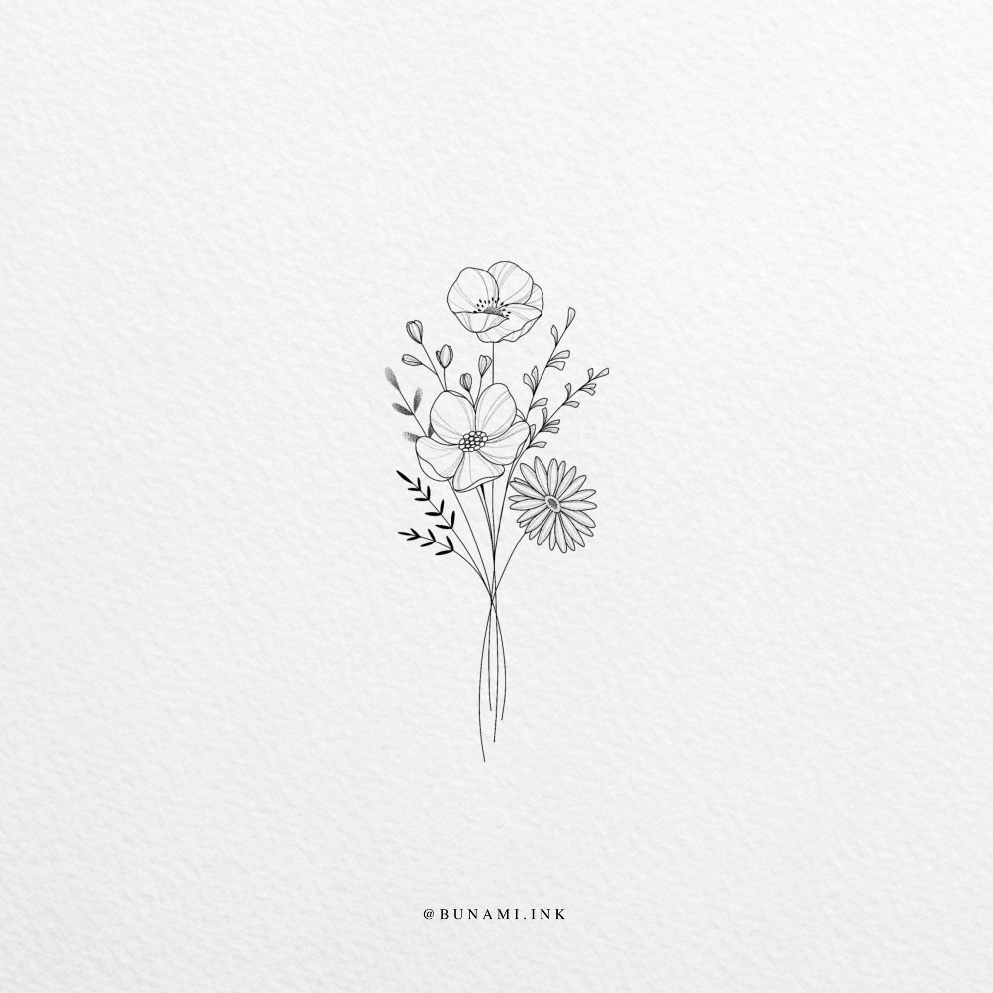 Wild flower bouquet (sold) - BUNAMI INK -   18 beauty Flowers tattoo ideas
