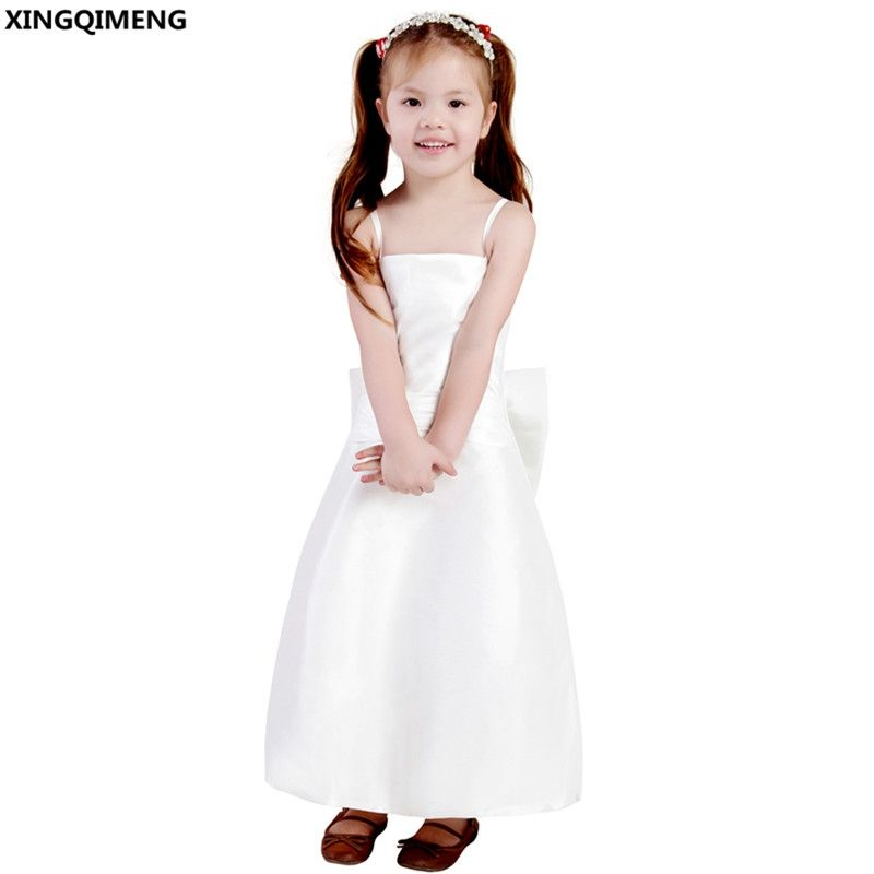 e62e445fc29 Spaghetti Straps Flower Girl Dresses Pure White First Holy Communion Dresses  Bow Little Ladies Gown Lovely
