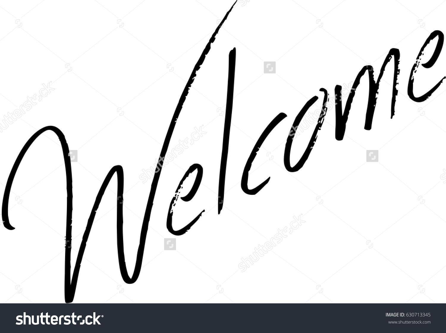 welcome text sign illustration on white bavkground