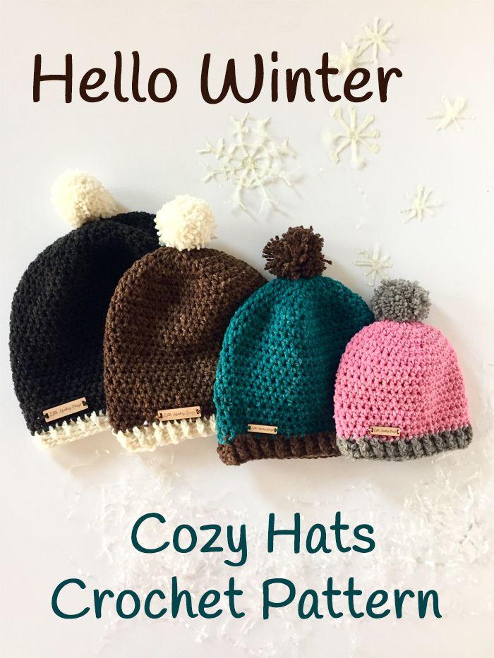 Hello Winter Pom-Pom Hat Crochet Pattern | Gorros, Gorras de tejido ...