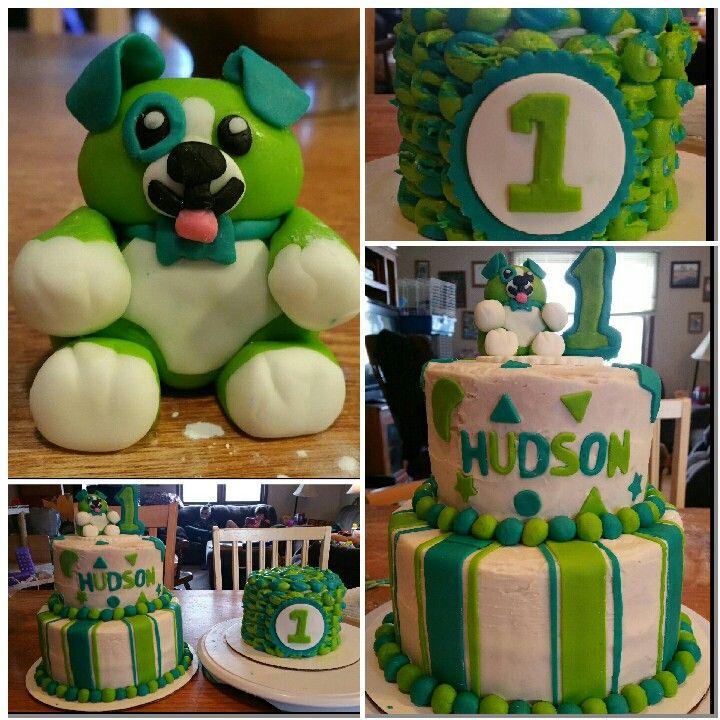 Scout The Dog Leapfrog 1st Birthday Cake With Smash Cake Satin