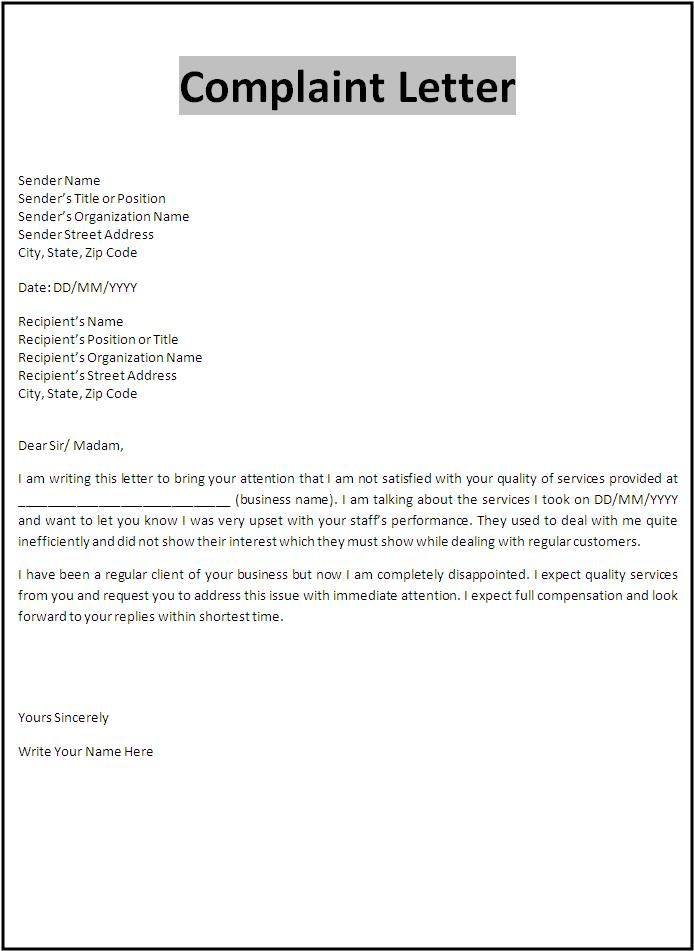 Complaint Letters Sample  Product Complaint Letter Sample