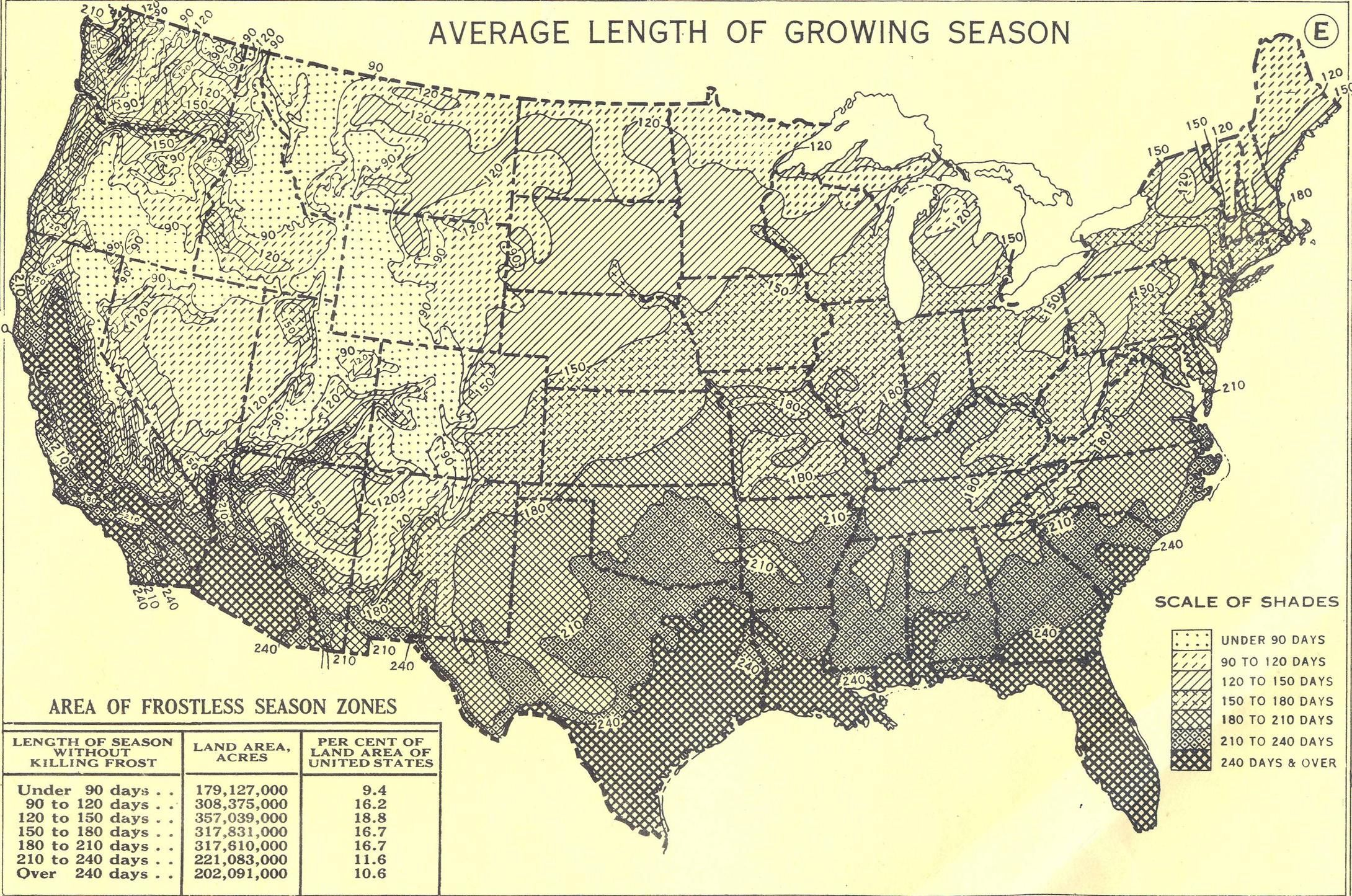 Average Us Growing Season Contour Map From Atlas Of The