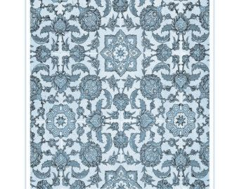 Decorative Tile Patterns Decorative Moorish Blue Tile Printart Illustration Print Spanish