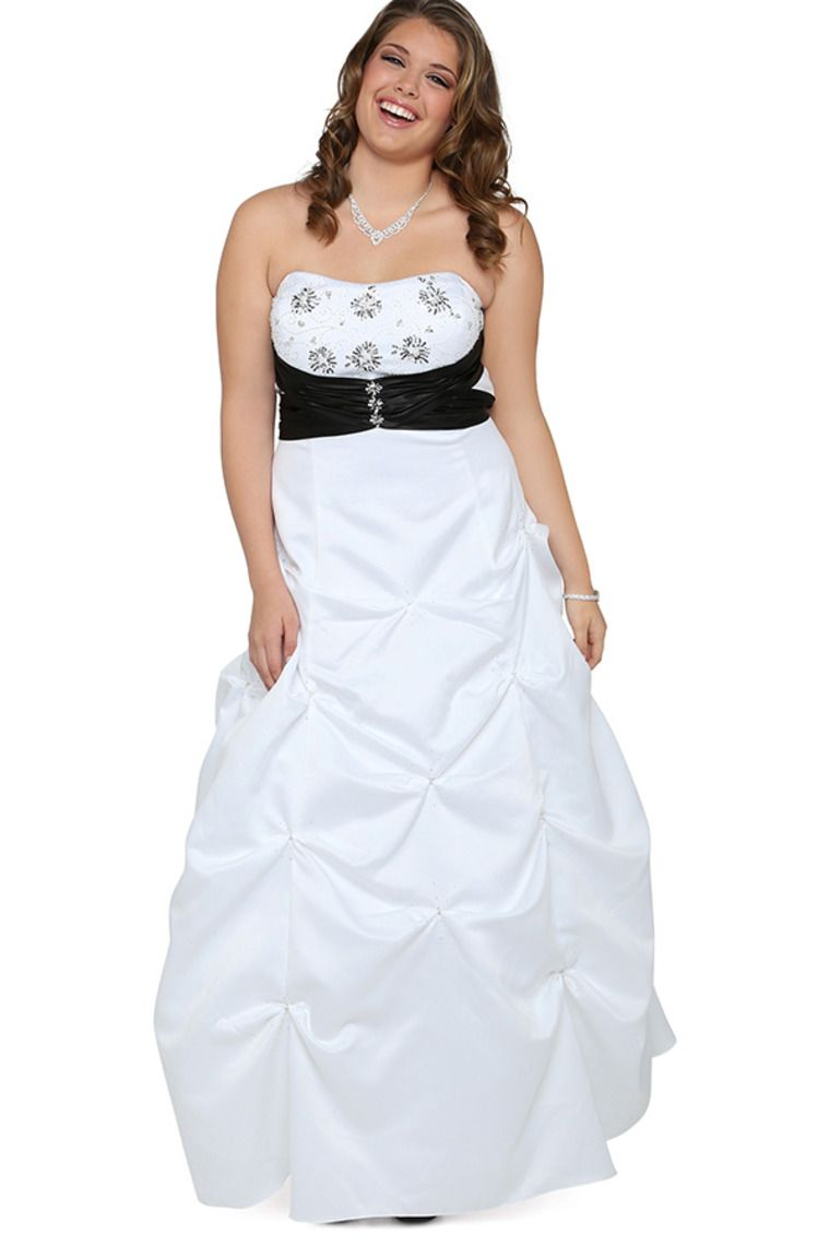 725a10e9390 Plus Size Long Prom Dress With Strapless Bead Bodice And Pick Up Bubble  Skirt