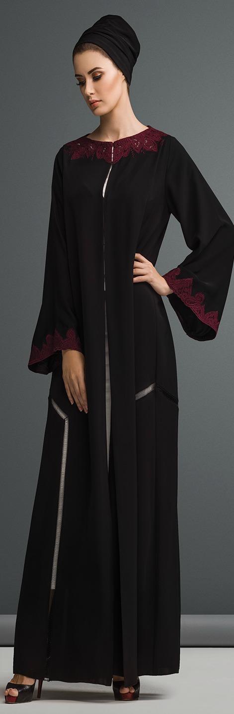 Mauzan Abaya Dubai Work Kashmiri Lace With Embroidery Design Fabric Black Crepe Abaya Fashion East Fashion Muslim Fashion