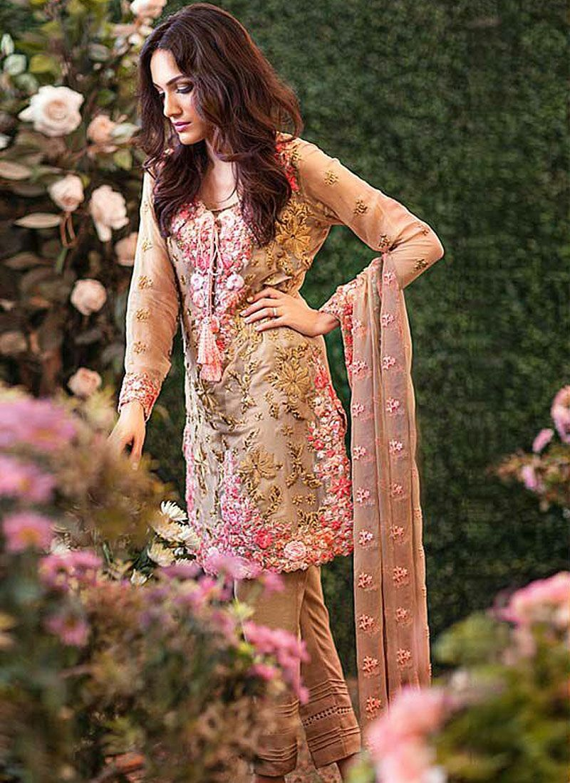 Intelligent Peach Georgette Pant Style Pakistani Suit | $alwar€ameez ...