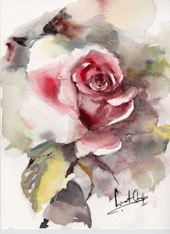 Aquarelle Originale De Rose Rose Aquarelle Art Par Canotstop