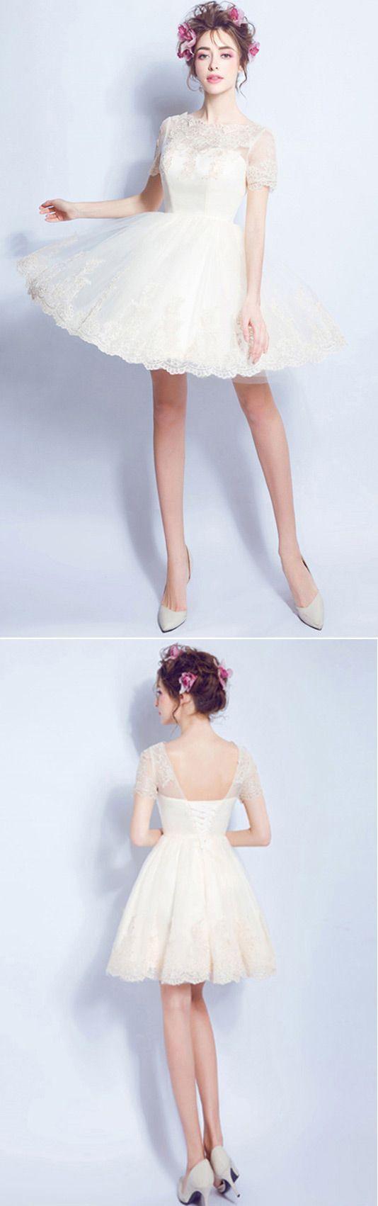 Only short wedding dresses champagne aline high neck short