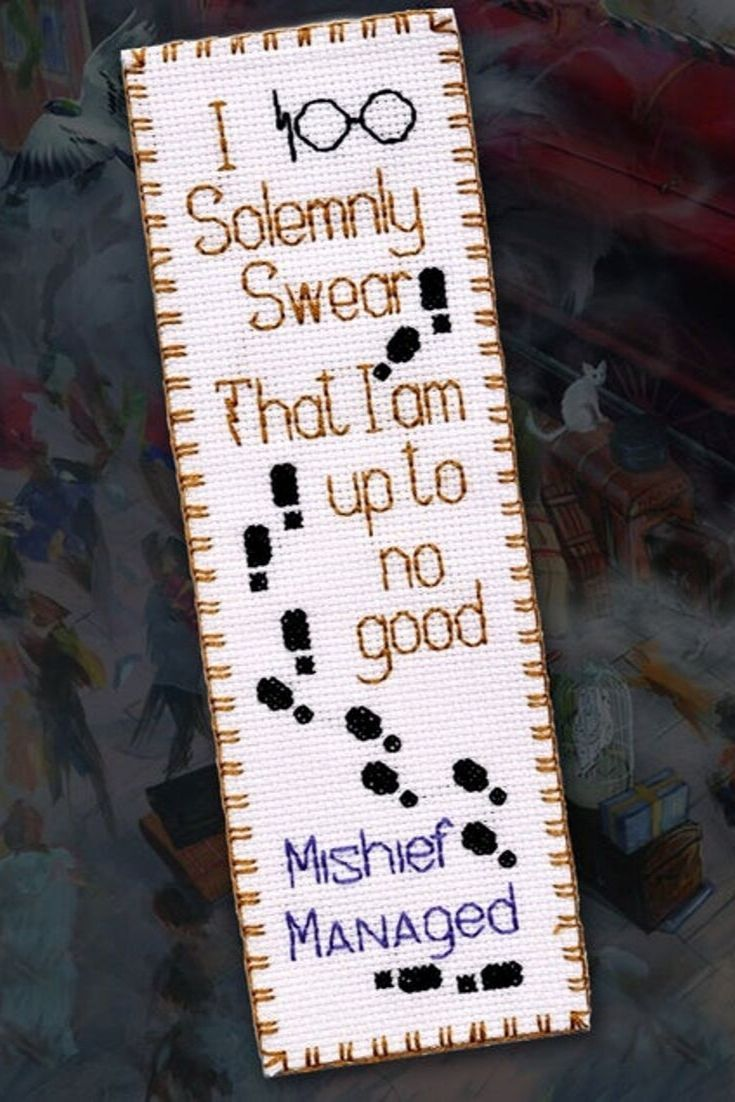 Photo of Mischief Managed Cross Stich Pattern PDF for HP Bookmark Embroidery design