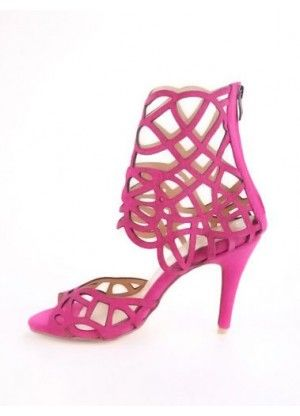 Fuchsia Sheepskin Suede Hollow Out Zip Closure Women's Gladiator Sandals - Sandals - Shoes